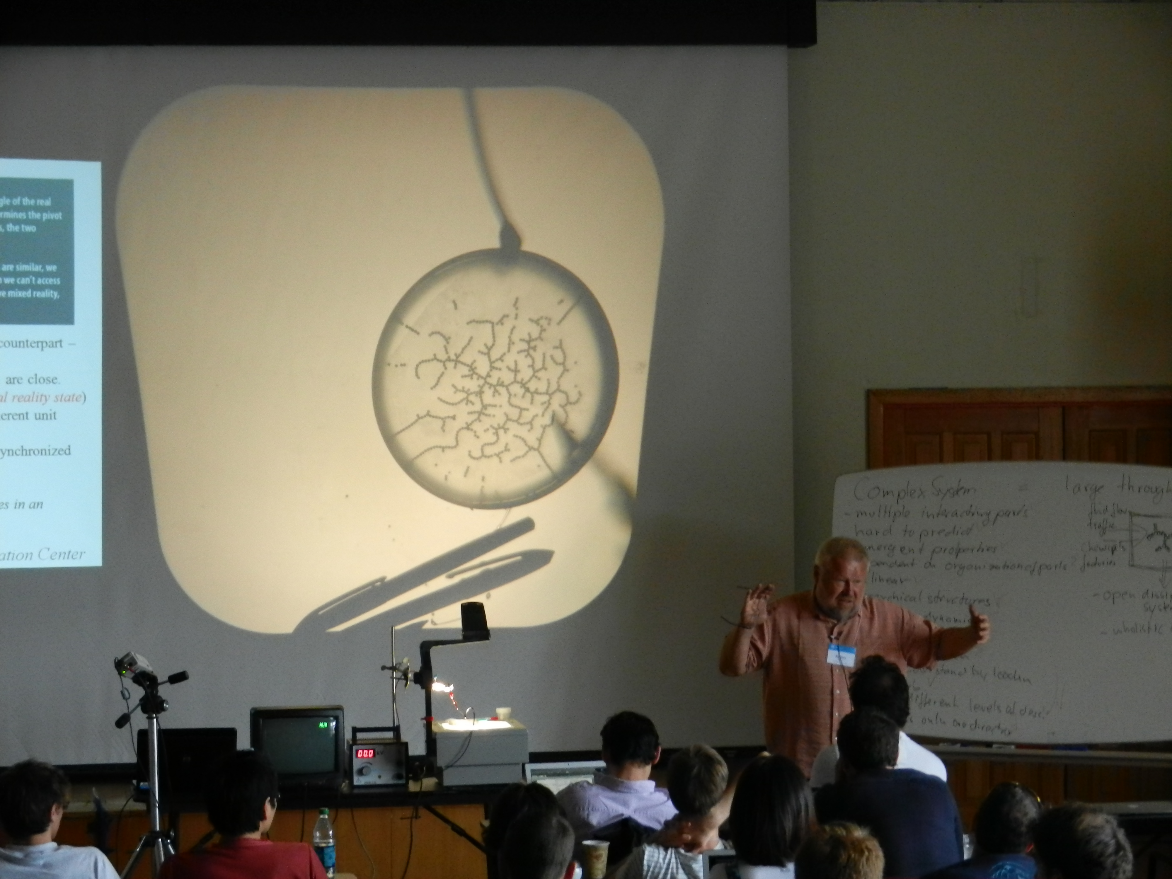 Alfred Hübler demonstrates how fractal self-organization arises when electricity is passed through metal ball bearings.
